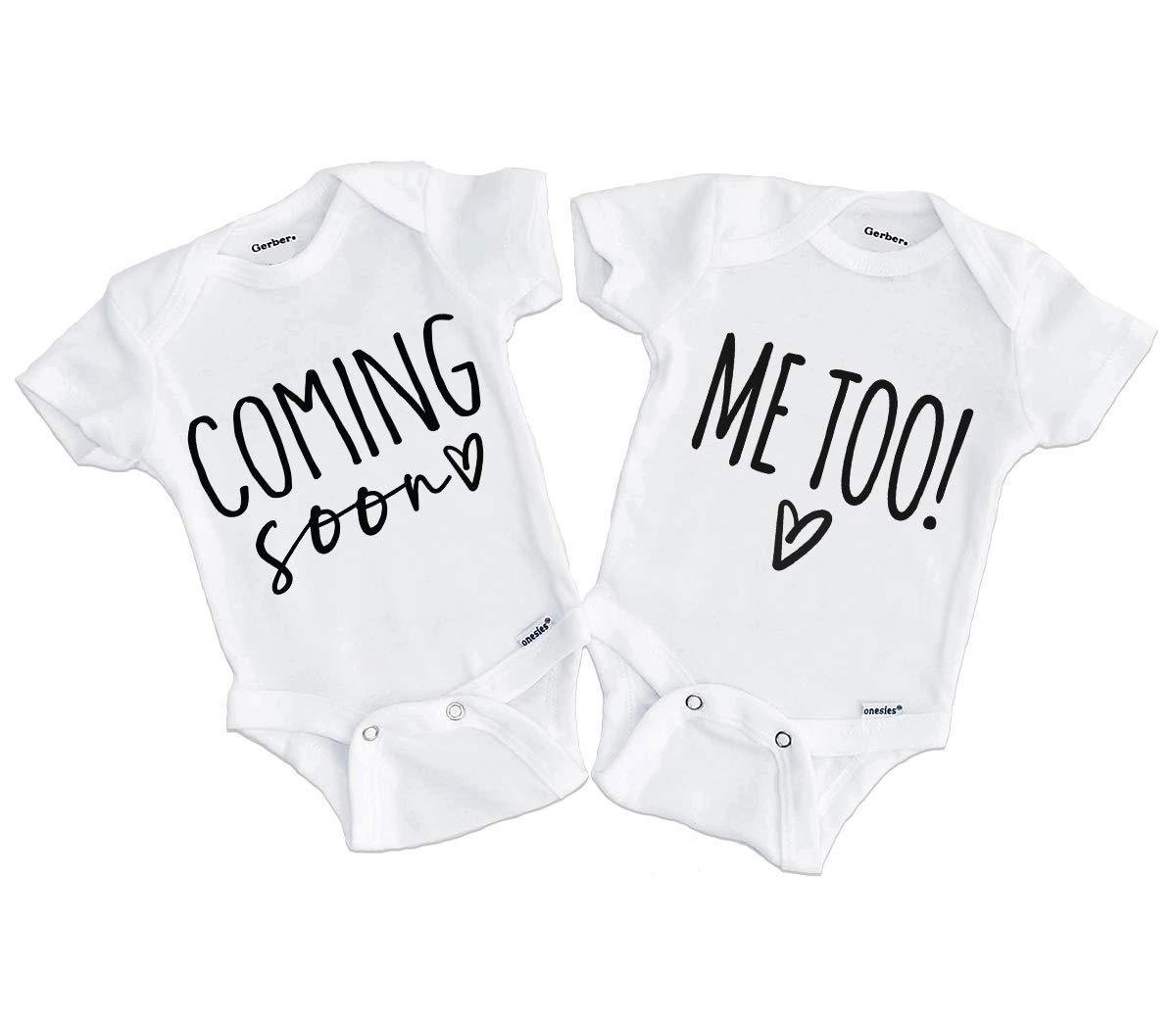 Coming Soon Onesie Me Too Twin Pregnancy Reveal Onesies Pregnancy Announcement Twins ONESIES Bodysuits