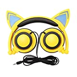 Cat Ear Headphones, GOGOING Kids Headphones with LED Flash Wired mode, Foldable game Headset fit Smartphones iPhone, Android Mobile Phone,Tablet PC, Computer Exc(yellow)