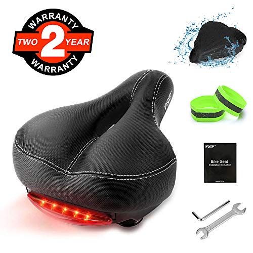IPSXP Bike Seat, Memory Foam Leather Bicycle Saddle Cushion with Taillight, Breathable, Comfortable Bike Saddle with Installation Tools, Waterproof Cover and 2 Reflective Bands