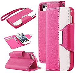 6S Plus Case,iPhone 6S Plus Case,iPhone 6 Plus Case,iPhone 6S Plus Wallet Case,Nakeey [Pink/White] Wallet Leather Case With Stand for iPhone 6/6S 5.5 inch