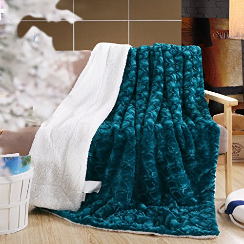 DaDa Bedding Mermaid Scales Lavish Luxe Soft Warm Cozy Plush Reversible Faux Fur Sherpa Fleece Throw Blanket - Bright Vibrant Embossed Textured Green Blue Teal & White Back Print - 63