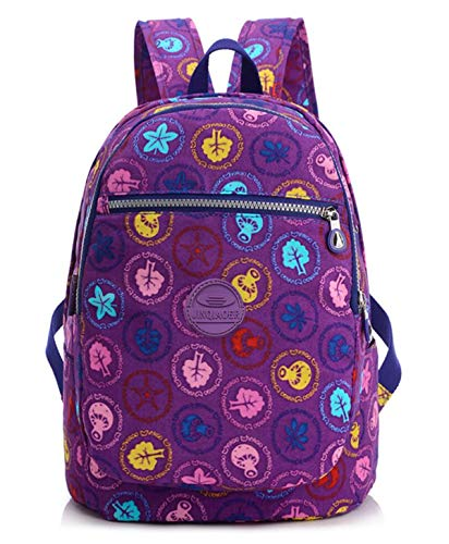 (Girls Lightweight Floral Backpack Purse Water-resistant Nylon Travel Hiking Daypack for Women Kids Backpack School Bag (Purple Floral))