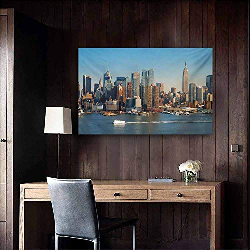 Hudson 24 Bar Stool - duommhome Urban Chinese Classical Oil Painting New York City Skyline Over Hudson River Empire State Building Boats and Skyscrapers for Living Room Bedroom Hallway Office 47