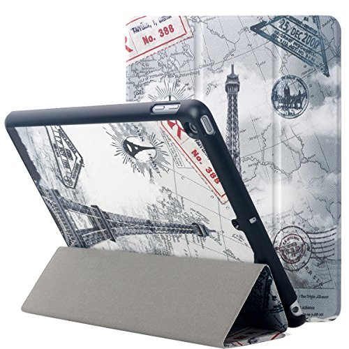 New iPad 9.7 2017 Case, AICase Ultra Slim Smart Stand Protective PU Leather Cover with Auto Wake/Sleep Function For Apple iPad 9.7 inch 2017 - Free Screen Protector and Stylus (Eiffel Tower)
