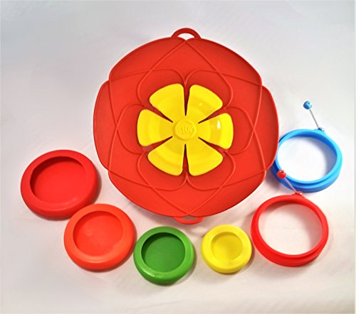 Smart Cook Gift Set Bundle by SiO-SiO With All Silicone Boil-over Stopper Lid 2 Egg Rings and a Set of 4 Silicone Fruit and Veggie Savers - Never Have a Pot Boil Over again - RED.
