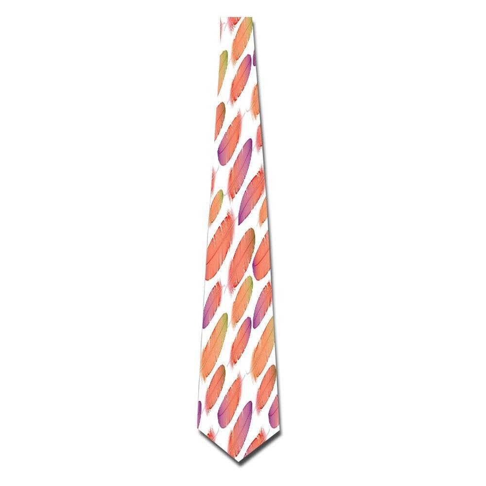 WuLion Fluffy Down Feather Motifs Oriental Sign Of Angels Themed Ethnic Boho Men's Classic Silk Wide Tie Necktie (8 CM)