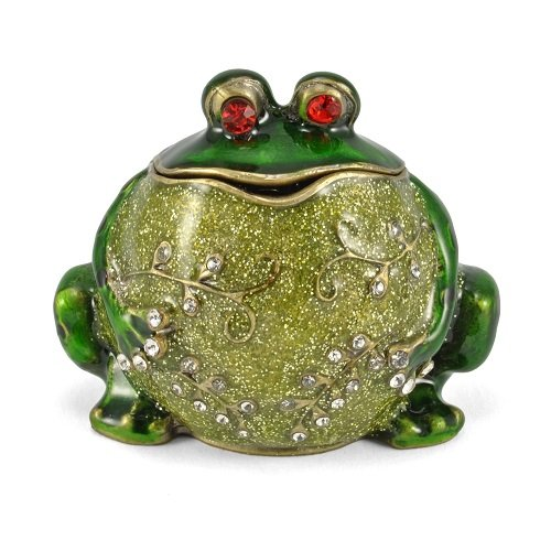 Welforth Bejeweled Big Belly Frog Jewelry Trinket Box (Pewter Frog)