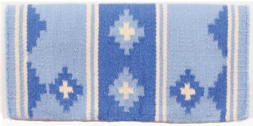 Mayatex Apache Pony Saddle Blanket, Crystal Blue Ice/Periwinkle/Cream, 24 x 24-Inch