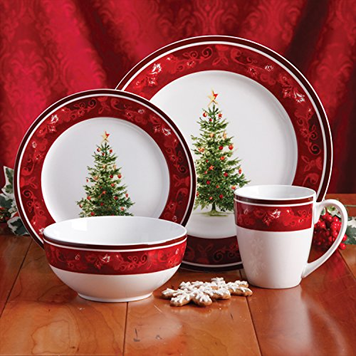 Gibson Home Noel Nostalgia 16 Piece Dinnerware Set