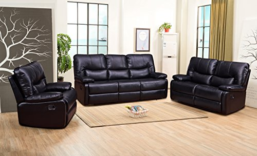 Motion Living Room Set - Betsy Furniture 3-PC Bonded Leather Recliner Set Living Room Set in Black, Sofa Loveseat Chair Pillow Top Backrest and Armrests 8031-321