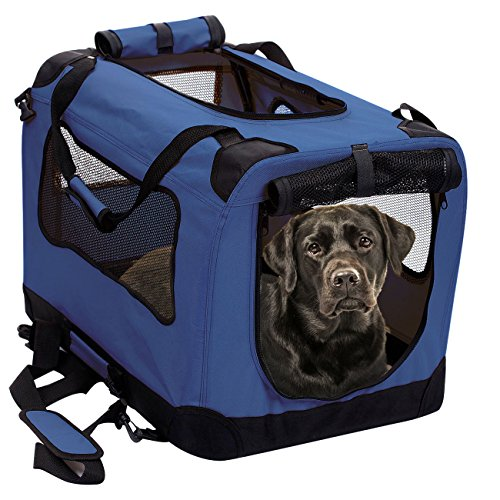 2PET Foldable Dog Crate – Soft, Easy to Fold & Carry Dog Crate for Indoor & Outdoor Use – Comfy Dog Home & Dog Travel Crate – Strong Steel Frame, Washable Fabric Cover, Frontal Zipper XL Blue