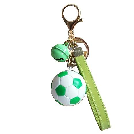 1pc Exquisito fútbol Llavero Creativa Bell y Cuero Cuerda ...
