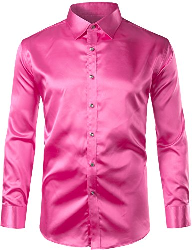 ZEROYAA Mens Regular Fit Long Sleeve Shiny Satin Silk Like Dance Prom Dress Shirt Tops Z6 Rose Red Medium