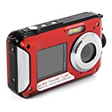 XCSOURCE FHD 1080P Double Screens Waterproof Digital Camera with 2.7-Inch + 1.8-Inch Dual LCD Easy Self Shot Camera (Red) LF747