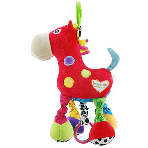BabyfansTM Baby Cute Red Horse Cartoon Shaped Stuffed Music Educational Toys