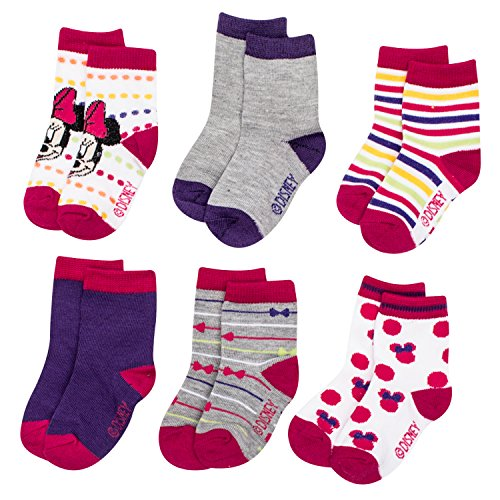 Disney Minnie Mouse Anti-Slip Cozy Baby Socks for Girls, Cartoon Newborn Friend, Multicolor Socks for Toddlers, 6 Pack (0-6 MONTHS)