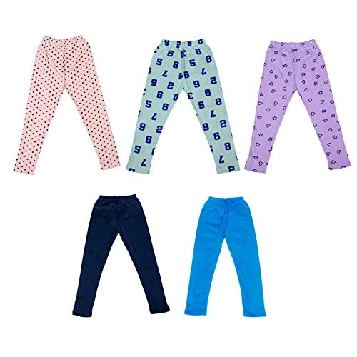 Indistar Super Soft and Stylish 2 Solid and 3 Cotton Printed Leggings For Girls Pack of 5