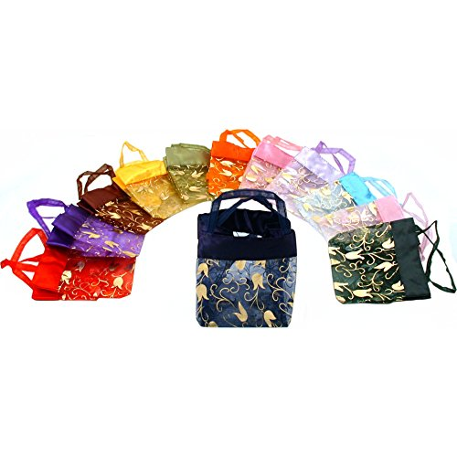 12 Mini Organza Assorted Gold Flower Tote Gift Bags