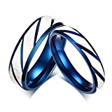 Walmart Black Friday 2016 Ads Best Deals - MoAndy Women Men Stainless Steel Blue Plated Brushed Engagement Wedding Rings Blue Silver Size 7
