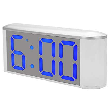 Fdit Termómetro Digital de Temperatura LED 0-50 ℃ Reloj de Alarma Multifuncional Snooze Mirror