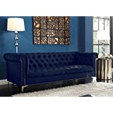 Iconic Home FSA2571-AN Gold Navy Blue Winston PU Button Tufted with Nail head Trim Tone Metal Sofa