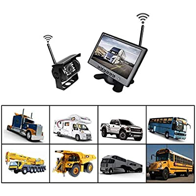 WHOLEV Wireless Vehicle Backup Camera and Monitor System Kit Rear View Camera Support Night Vision IP67 Waterproof & 7