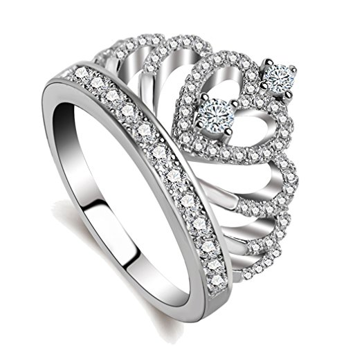 SAINTHERO Women's Crown Tiara Rings 925 Sterling Silver Plated Cubic Zirconia Princess Love Hearts Promise Rings for Her Size 5