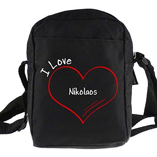 Umhängetasche Modern I Love Nikolaos schwarz