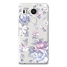 Case for Nexus 5X, CasesByLorraine Purple Floral Flower Matte Case Plastic Hard Cover for LG Nexus 5X (I33)