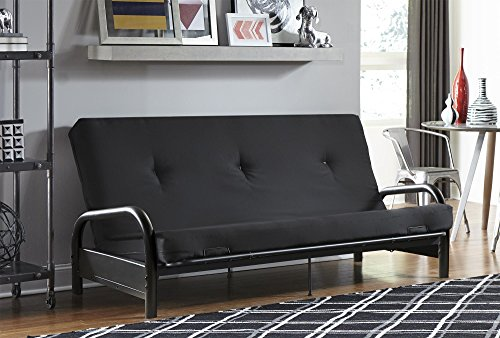 DHP Black Metal Arm Futon Frame with a 6 inch futon mattress, Converts from Couch to Full Size Sofa Bed - Black