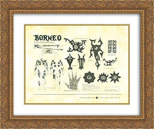 Tattoos of Borneo 2x Matted 20x24 Gold Ornate Framed Art Print (Borneo Tattoo)