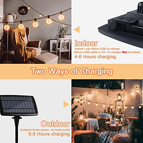 Solar String Lights, BOLWEO Solar Outdoor Lights with Micro USB, 31Ft 25 Hanging Bulbs Solar Lights Waterproof Decorations for Patio Backyard Garden Balcony Cafe Bistro
