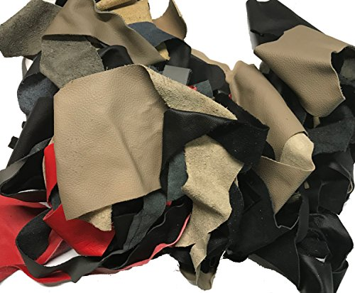- 3 lbs Leather Scrap for Crafts - Remnants, Various Colors and Sizes - 10-20 Pieces