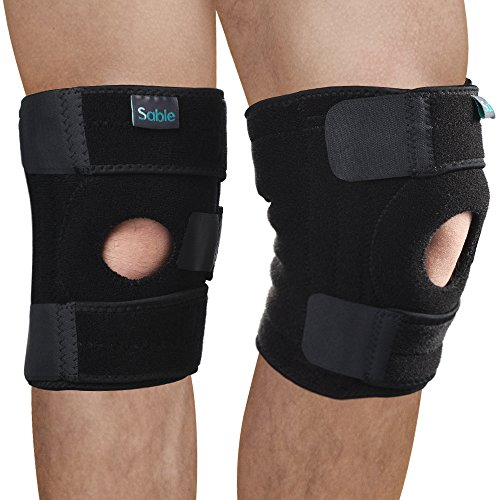 - Knee Brace Open Patella Support Stabilizer 2 Pack Sleeves, FDA Registered for Arthritis, ACL, Running, Basketball, Meniscus Tear, Sports, Athletic, Relieves Pain, One Size Fits All by Sable