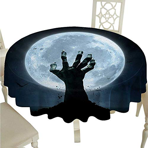 Halloween Round Polyester Tablecloth Realistic Zombie Earth Soil Full Moon Bat Horror Story October Twilight Themed Waterproof/Oil-Proof/Spill-Proof Tabletop Protector D50 Blue Black -