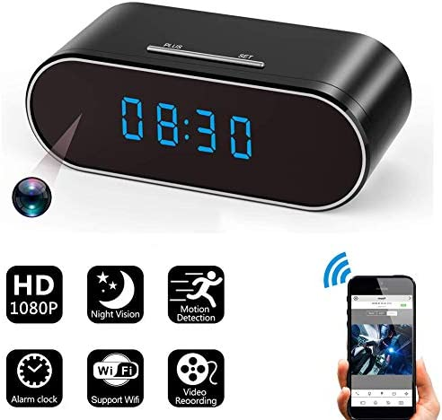 Hidden Spy Camera Alarm Clock with Night Vision HD 1080P Wireless WiFiMotion Detection Loop Recording,Phone APP PC Software Remote Monitored Mini Smart Nanny Cam for Home Security Monitoring