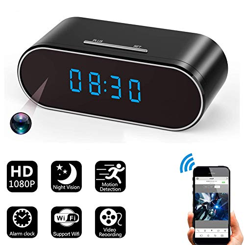 Hidden Spy Camera Alarm Clock with Night Vision/HD 1080P Wireless WiFiMotion Detection/Loop Recording,Phone APP & PC Software Remote Monitored Mini Smart Nanny Cam for Home Security Monitoring