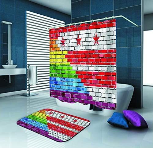 SARA NELL Mildew Resistant Washington Dc Shower Curtain Brick Wall Washington Dc And Gay Flags Polyester Fabric Shower Curtain (72