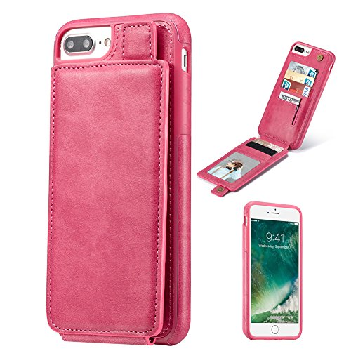 Premium Leather Cell Phone Case - iPhone 7 Plus Case, iPhone 8 Plus Case, Premium Leather Wallet with Card Holder for Men/Women's Back Cell Phone Shell Skin Magnetic Flap Cover for Apple iPhone 7Plus 8Plus - pink