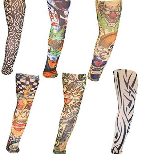 [Set of 6 Assorted Novelty Realistic Looking Fake Tattoo Sleeves 45cm by Kurtzy TM] (Animal Themed Dress Up Ideas)