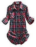 Match Women's Long Sleeve Plaid Flannel Shirt #2021(X-Small, Checks#14)