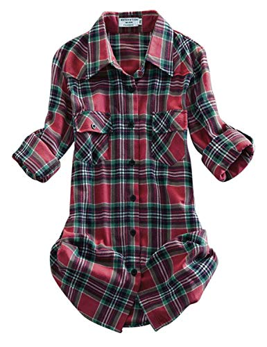 Match Women's Long Sleeve Plaid Flannel Shirt #2021(XX-Large, Checks#14)