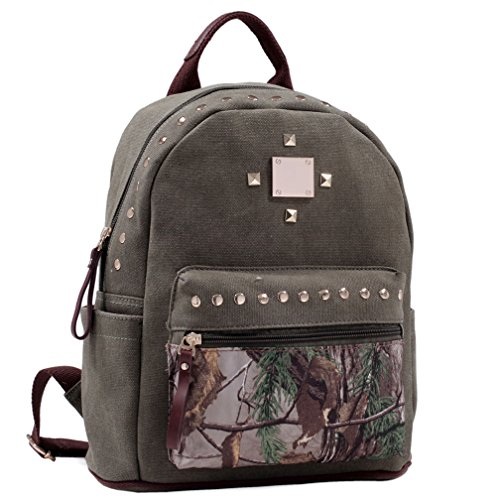 Camouflage Womens Handbag (Dasein in Realtree Studded Canvas Zip Around Camouflage Backpack Purse - XG Camouflage/Green)