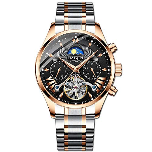 Luxury Automatic Mechanical Watch for Men, Waterproof Wrist watch Full Stainless Steel Watch Self-Wind Fashion Wristwatches, Luminous Dial, Shower, Week Display, Outdoor, Business Style, Gifts (Black)