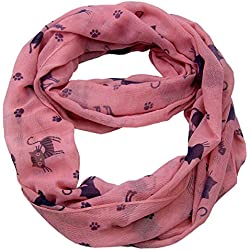 Infinity Cat Print Cotton Scarf CSJ-L- 36A (Pink)