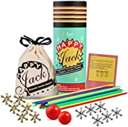 Jacks Game with Ball and Wooden Pick-Up Sticks Gift Set with 12 Pieces Gold and Silver Metal Jacks with 2 Size