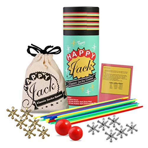Jacks Game with Ball,Happy Jack 12 Pieces Gold and Silver Classic Metal Jacks with 2 Sizes of Red Bouncy Balls and Instructions for Kids and Adults of All Ages/Retro,Vintage, Classic Game of Jacks]()