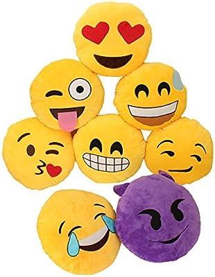 EO Cojín redondo con forma de emoticono, 32 cm, color ...