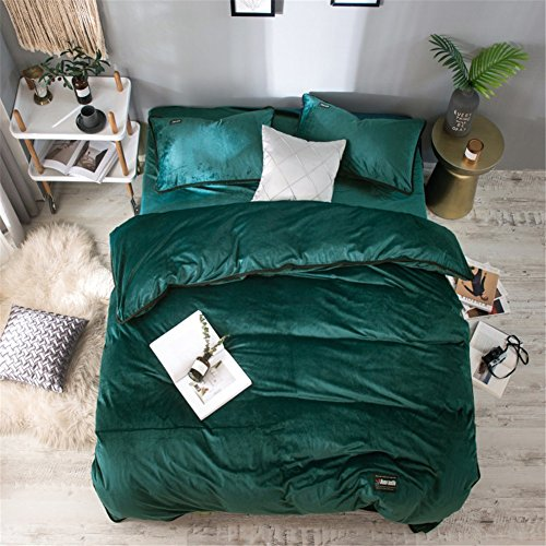 Simonshop Super Soft Warm Crystal Velvet 4pc Bedding Set Queen/King Reactive Print Duvet Cover Flat Sheet Pillowcase Bed Linen Sets (queen, Emerald green)