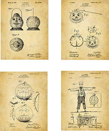 Halloween Patent Wall Art Prints - set of Four (8x10) Unframed - wall art decor ()